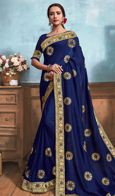 Silk Embroidered Saree in Navy Blue Color