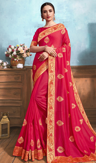 Silk Embroidered Saree in Coral Color
