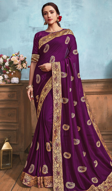 Silk Embroidered Saree in Purple Color