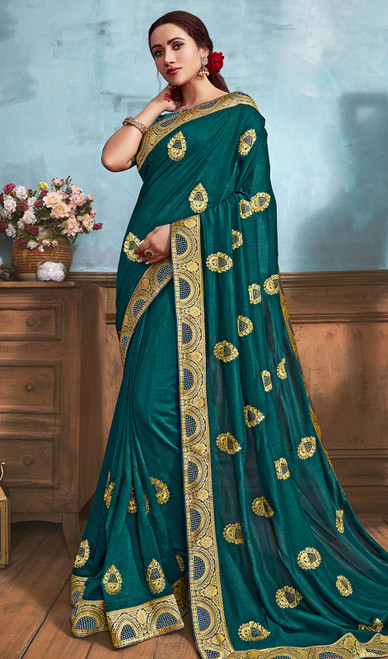 Silk Embroidered Saree in Aqua Green Color