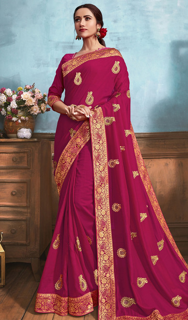 Silk Embroidered Saree in Dark Pink Color