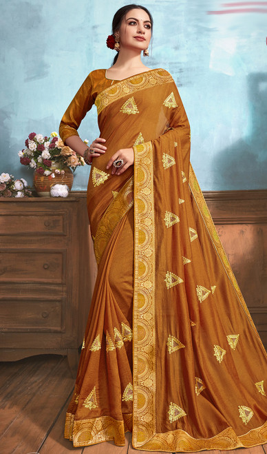 Silk Embroidered Saree in Golden Yellow Color
