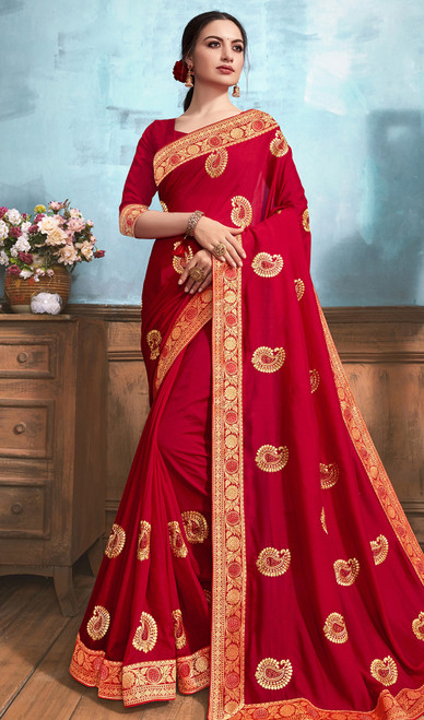 Silk Embroidered Saree in Maroon Color