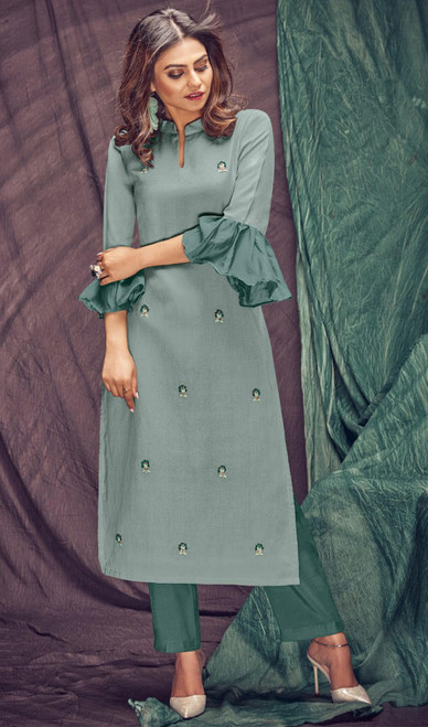 Linen Flex Embroidered Kurti With Pant in Light Gray and Sea Green Color