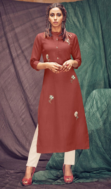 Linen Flex Embroidered Kurti With Pant in Rust and Off White Color