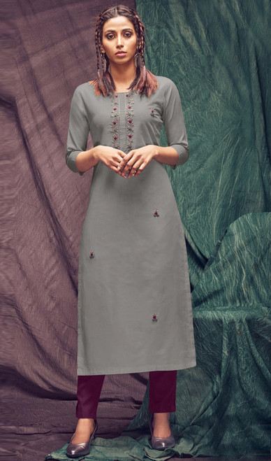 Cotton Embroidered Kurti With Pant in Gray and Purple Color