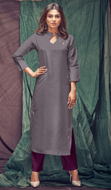 Banarasi Viscose Embroidered Kurti With Pant in Dark Gray and Purple Color