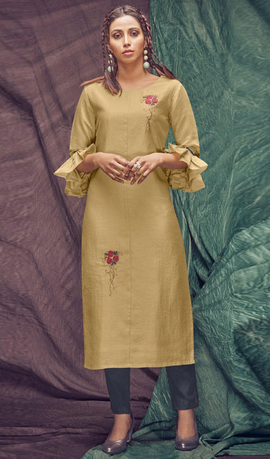 Banarasi Viscose Embroidered Kurti With Pant in Golden and Steel Gray Color