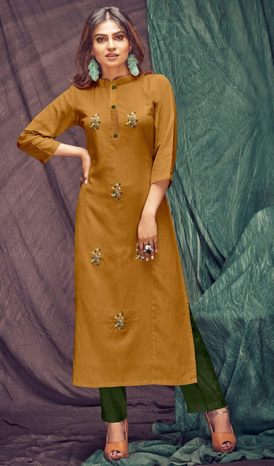 Linen Flex Embroidered Kurti With Pant in Mustard and Bottle Green Color