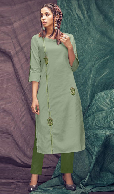 Cotton Embroidered Kurti With Pant in Sea Green and Green Color