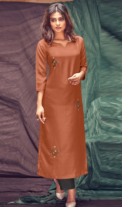 Banarasi Viscose Embroidered Kurti With Pant in Rust Orange and Dark Gray olor