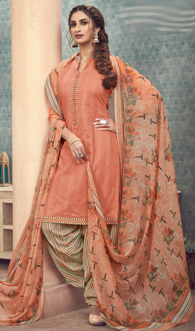 Cotton Printed Peach Color Punjabi Dress