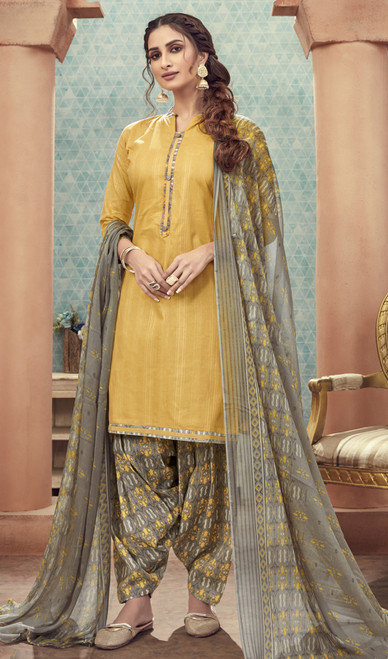 Cotton Printed Lemon Yellow Color Punjabi Suit