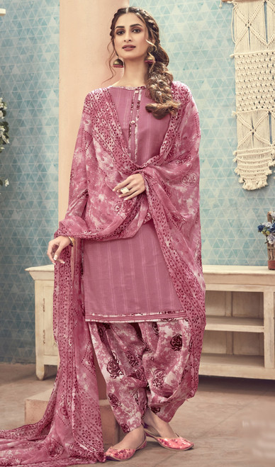 Cotton Printed Dusty Pink Color Punjabi Dress