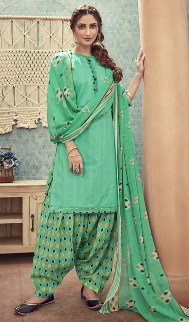 Cotton Printed Light Green Color Punjabi Dress