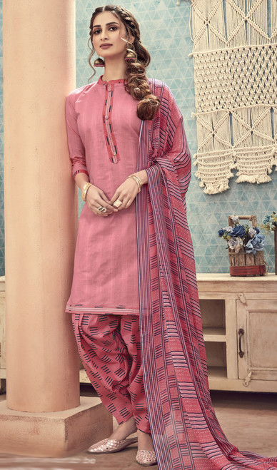 Cotton Printed Baby Pink Color Punjabi Suit