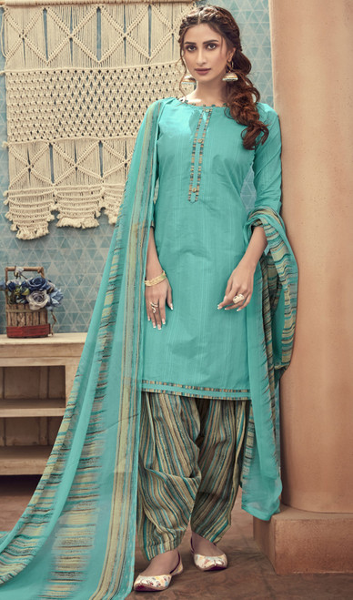 Cotton Printed Sky Blue Color Punjabi Suit
