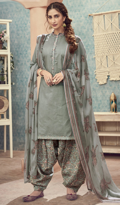 Cotton Printed Gray Color Punjabi Dress