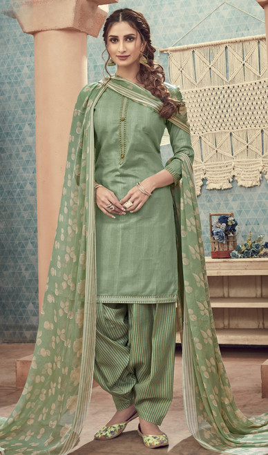 Cotton Printed Dusty Green Color Punjabi Suit