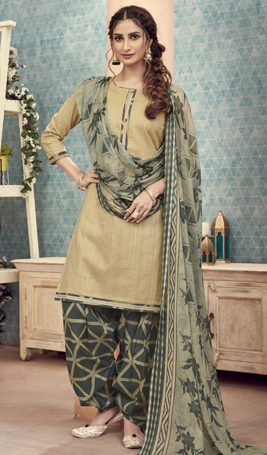 Cotton Printed Beige Color Punjabi Dress