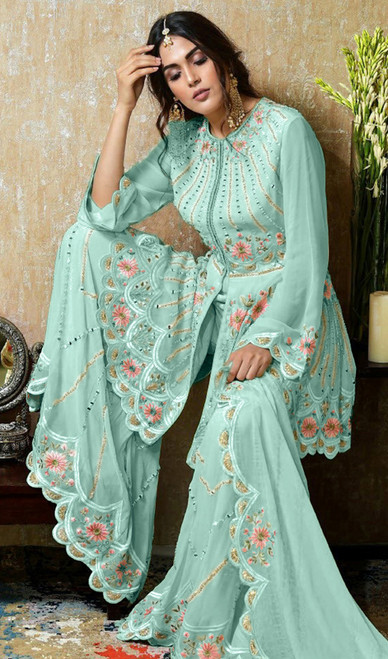 Sky Blue Color Georgette Embroidered Palazzo Suit