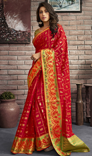 Jacquard Silk Traditional Saree in Red Color