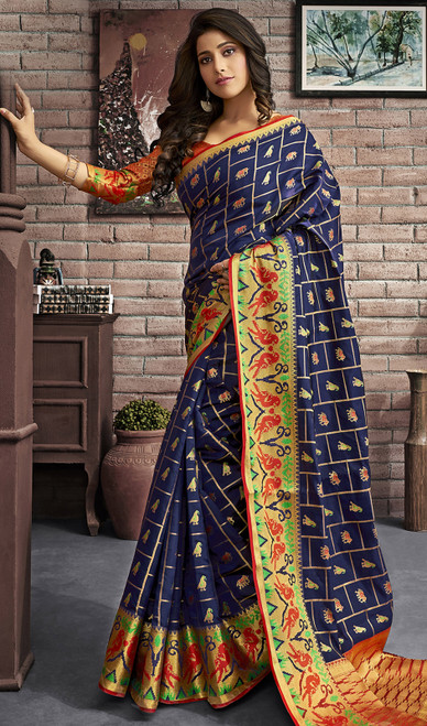 Jacquard Silk Traditional Saree in Navy Blue Color