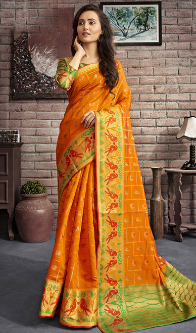 Jacquard Silk Traditional Saree in Orange Color