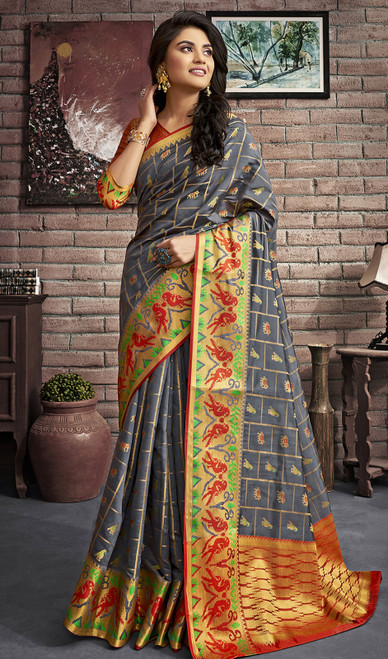 Jacquard Silk Traditional Saree in Gray Color
