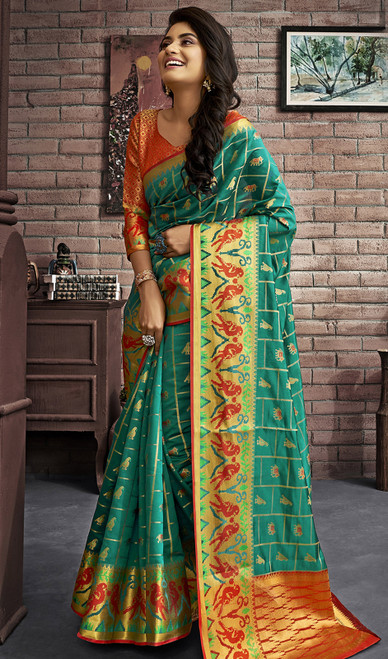 Jacquard Silk Traditional Saree in Aqua Green Color