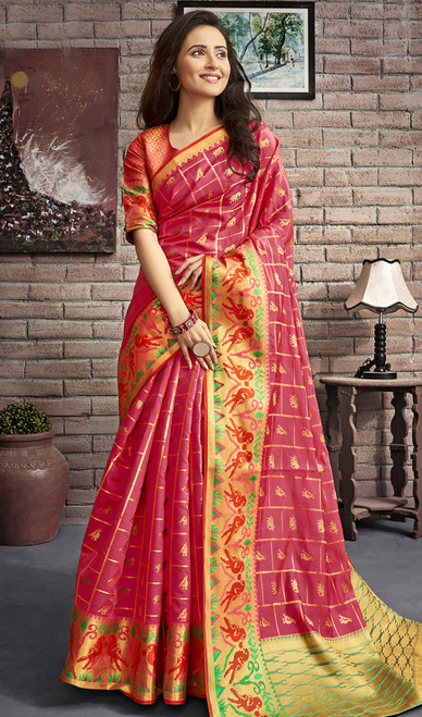 Jacquard Silk Traditional Saree in Dusty Pink Color