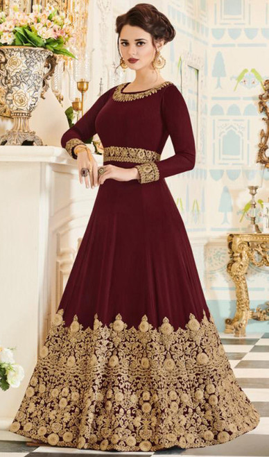 Georgette Maroon Color Embroidered Anarkali Dress