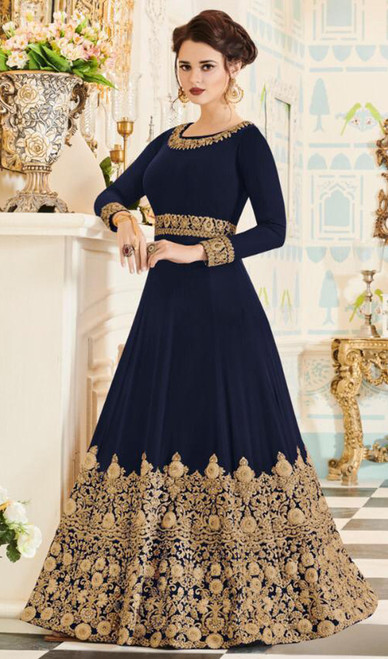 Navy Blue Color Georgette Embroidered Anarkali Dress