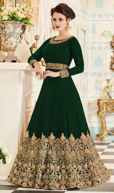 Georgette Mehendi Green Color Embroidered Anarkali Dress