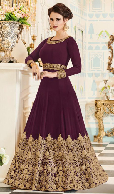 Georgette Magenta Color Embroidered Anarkali Dress