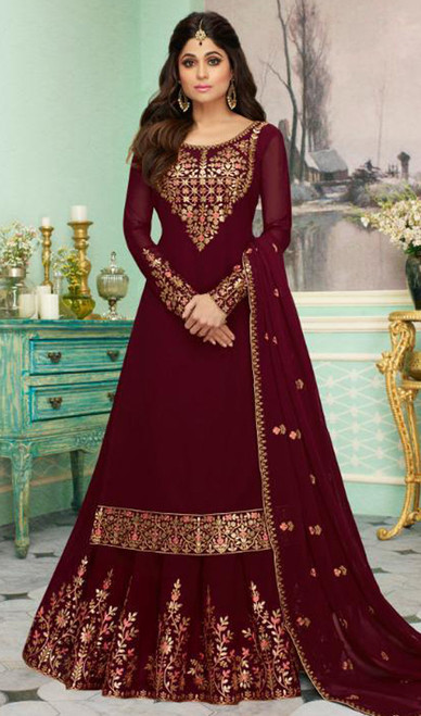 Shamita Shetty Georgette Embroidered Lehenga Dress in Maroon Color
