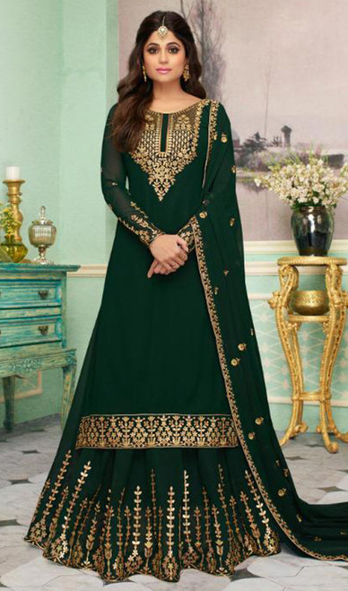 Shamita Shetty Georgette Embroidered Lehenga Dress in Dark Green Color
