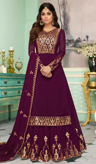 Shamita Shetty Georgette Embroidered Lehenga Dress in Purple Color
