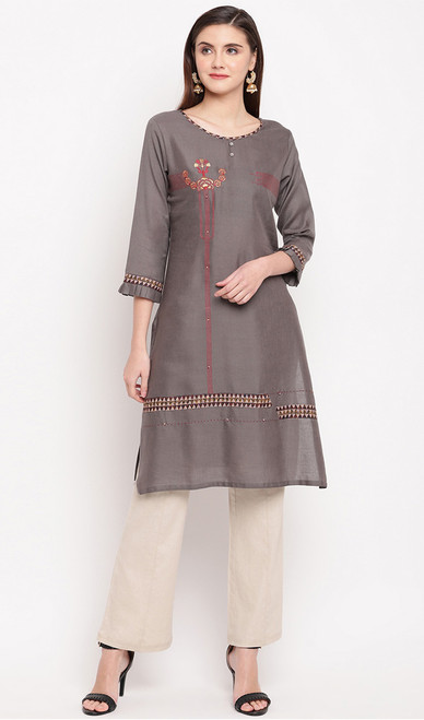 Dark Gray Color Rayon Embroidered Tunic Top