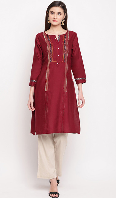 Maroon Color Rayon Embroidered Tunic Top
