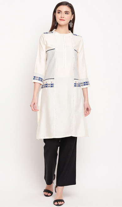 White Color Rayon Embroidered Tunic Top
