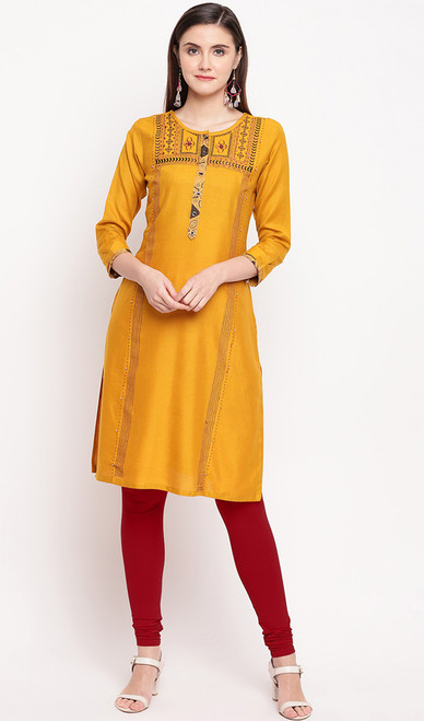Mustard Yellow Color Rayon Embroidered Tunic Top