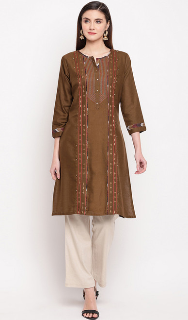 Coffee Color Rayon Embroidered Tunic Top