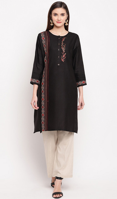 Black Color Rayon Embroidered Tunic Top