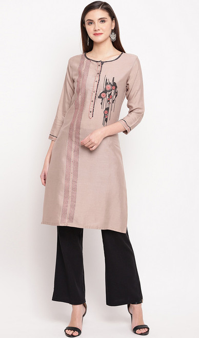 Light Peach Color Rayon Embroidered Tunic Top