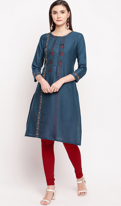 Peacock Blue Color Rayon Embroidered Tunic Top