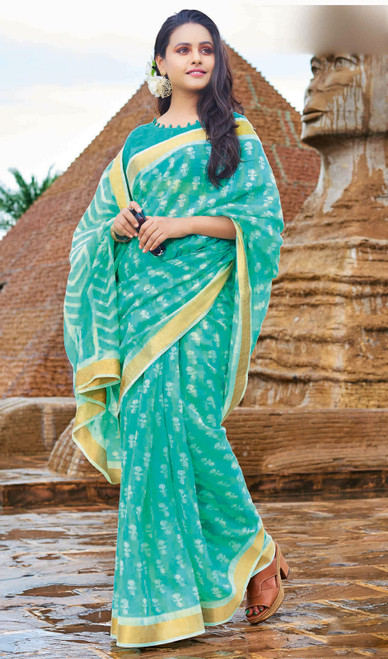 Neon Green Color Printed Cotton Saree