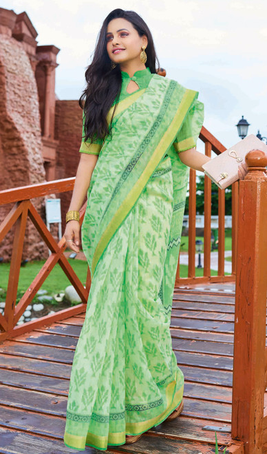 Printed Neon Green Color Cotton Saree