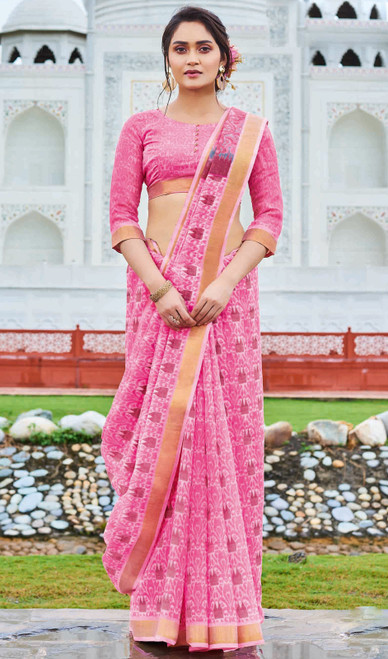 Neon Pink Color Printed Cotton Saree