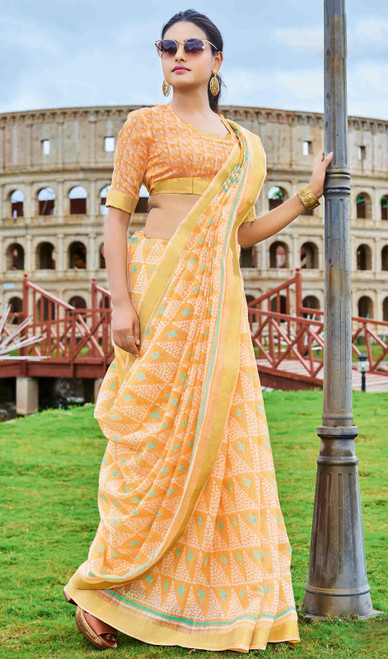 Light Orange Color Printed Cotton Saree